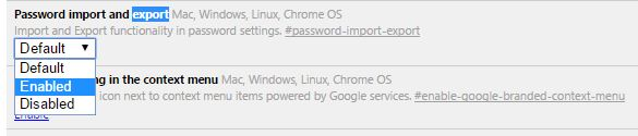 enable Password import and export