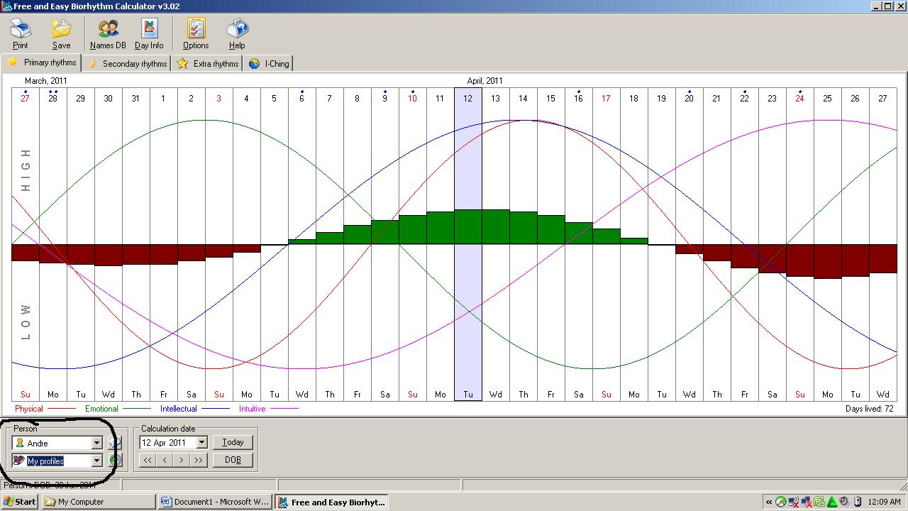Download free and easy biorhythm calculator 3. 02.