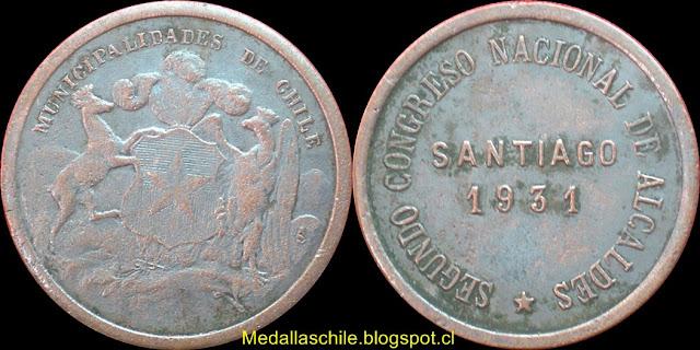 Medalla Segundo Congreso Nacional de Alcaldes 1931