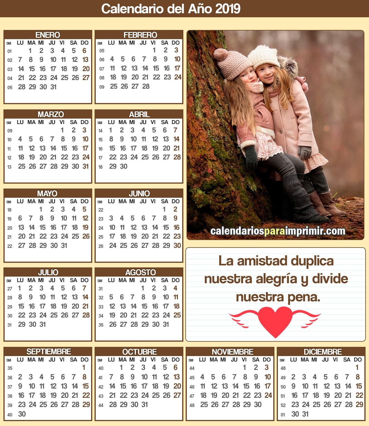 calendario amistad 2019 imprimir