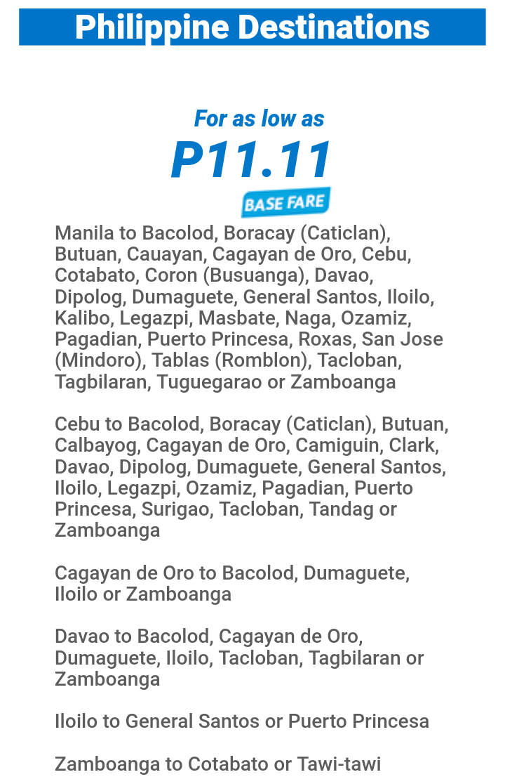 11.11php Fare Sale for Domestic and International - Cebu Pacific Airlines Philippines