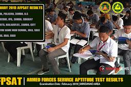 AFPSAT Results - February 2019 | Mindanao Area #AROMIN