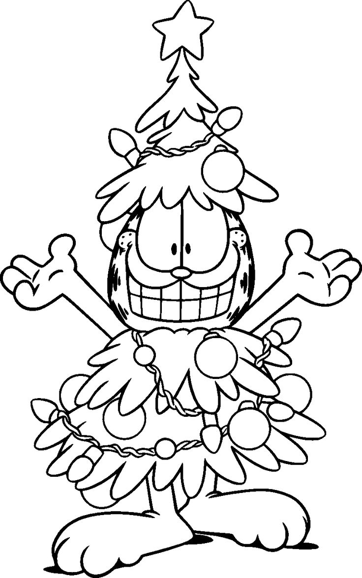 garfield wear christmas tree coloring pages