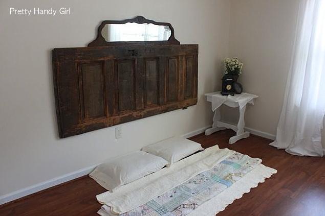 Old door and mirror bedroom headboard via Funky Junk Interiors