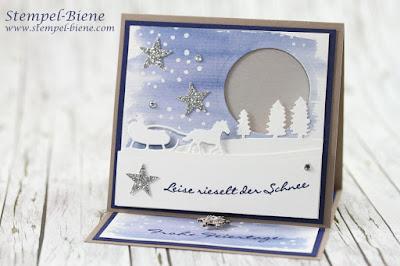 weihnachtliche Lichterkarte, Anleitung easelcard, anleitung lichterkarte, Adventskarte basteln, edgelits Schlittenfahrt, team stempel-biene, stampinup sammelbestellung