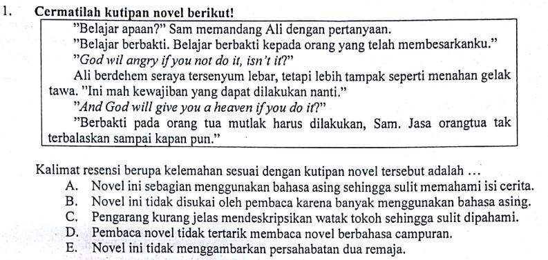 Pembahasaan Soal Un Tahun 2018 Bahasa Indonesia Nomor 1 Kalimat