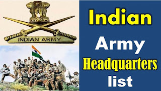 List of Indian Army Headquarters Address for Competitive Exams