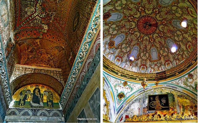 Detalhes da decoração da  Basílica de Santa Sofia e do Palácio Topkápi