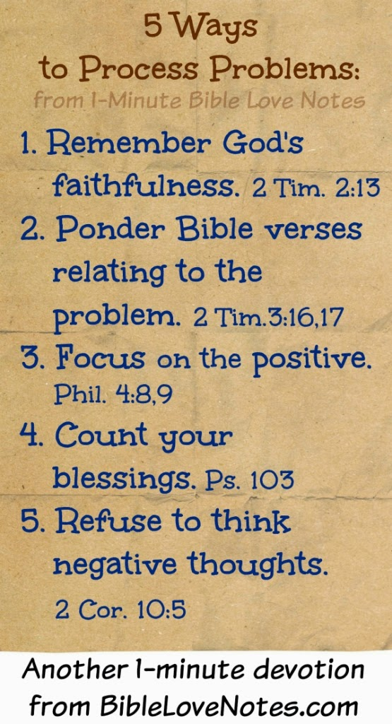 Processing problems biblically, Scripture help for problems, God's way to handle problems