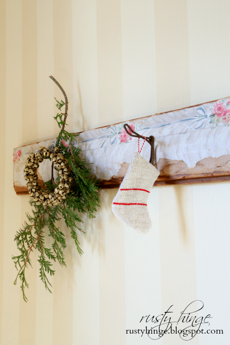 Vintage Coat Rack Hooks Decorated for Christmas