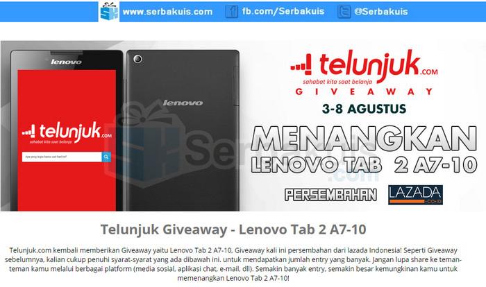 Telunjuk Giveaway Berhadiah Lenovo Tab 2 A7-10
