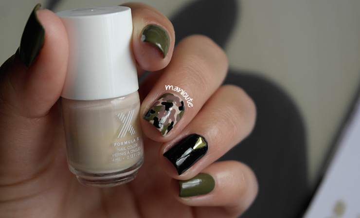 military nails H&M olive green