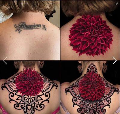Cover up tatuaje de nombre en la espalda
