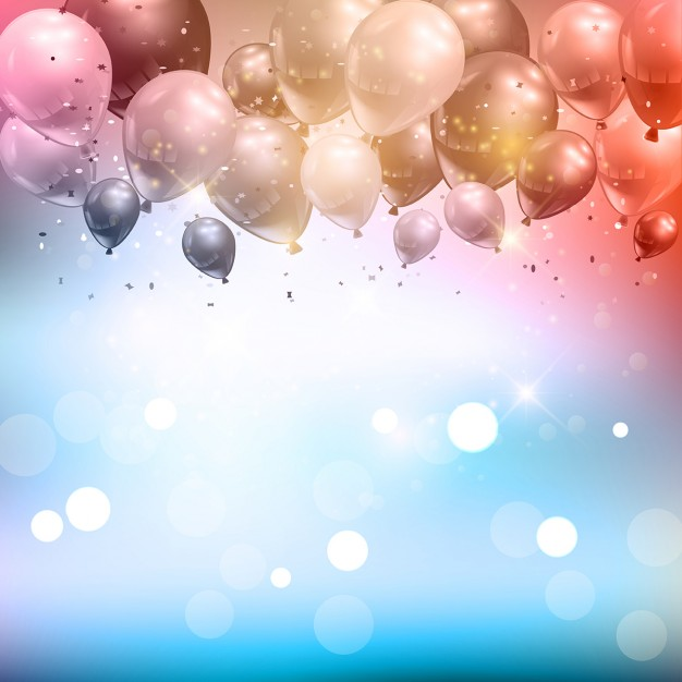 Celebration background of balloons and confetti Free Vector