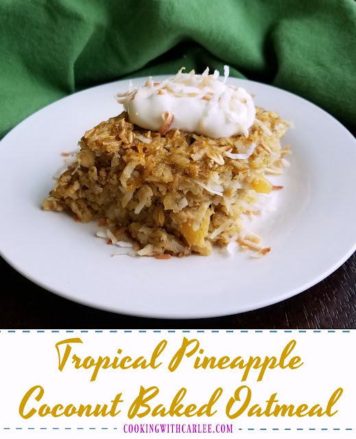 This bright and flavorful baked oatmeal is like taking a bite out of the tropics! Tropical pineapple coconut baked oatmeal is the perfect breakfast or brunch treat!