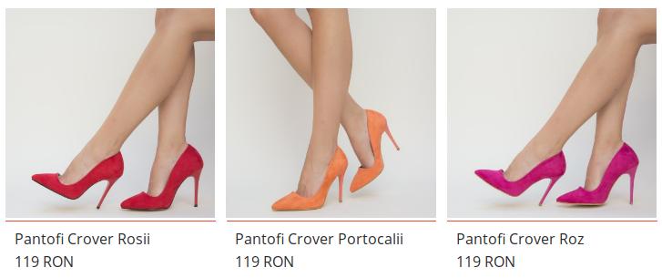 Pantofi de culoare mata de dama rosii, roz, negrii de ocazie de vara
