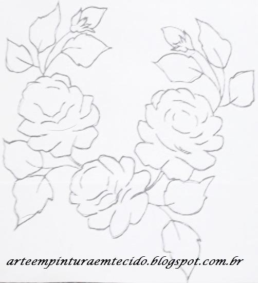 risco de ramo de rosas para pintar