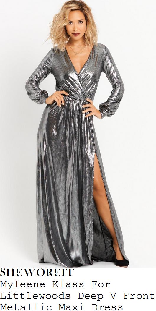 myleene-klass-myleene-klass-for-littlewoods-gunmetal-silver-long-sleeve-plunge-wrap-front-high-shine-draped-maxi-dress