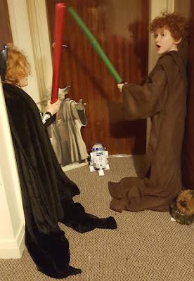 Darth Vader and Obi Wan battle