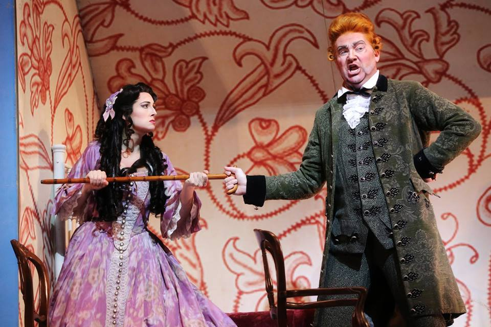 IN PERFORMANCE: Mezzo-soprano CECELIA HALL as Rosina (left) and bass-baritone TYLER SIMPSON as Dottor Bartolo (right) in North Carolina Opera's production of Gioachino Rossini's IL BARBIERE DI SIVIGLIA, 1 April 2016 [Photo by Curtis Brown, © by North Carolina Opera]