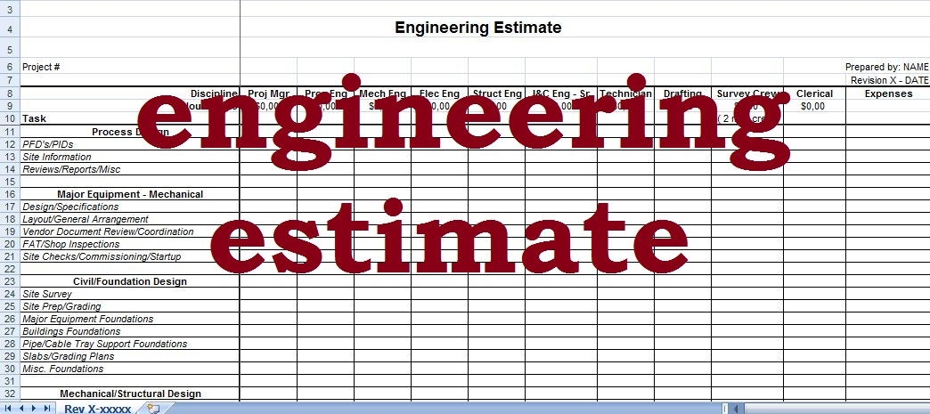 engineering fee estimate template - excel sheet
