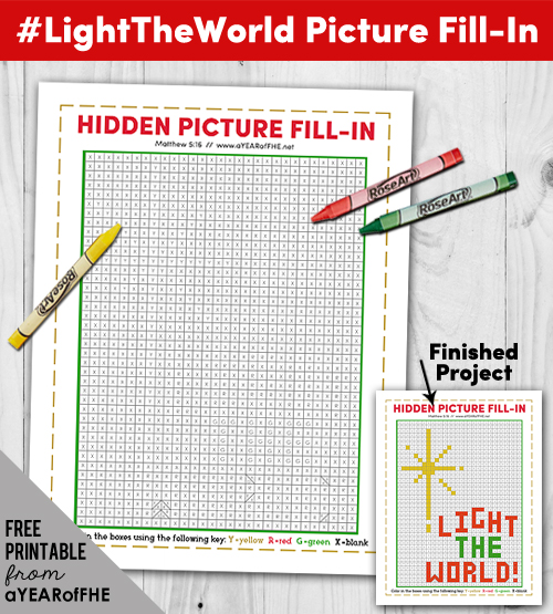 A Year of FHE // Kids will love this fun #LightTheWorld Fill-In Picture Activity download with you!      Kids just need a red, green, and yellow crayon and they will be occupied for a while with this fill-in activity! If your Ward/Branch is having church services on the 24th this would be a great quiet activity for Sacrament Meeting. #lds #christmas