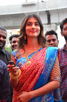 Puja Hegde looks stunning in Red saree at launch of Anutex shopping mall ~ Celebrities Galleries 105.JPG