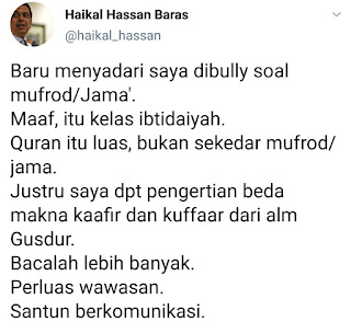 Bedakan Makna Kafir dan Kuffar, Haikal Klaim Bersumber dari Gusdur, Akhmad Sahal : Jahil Murakkab!