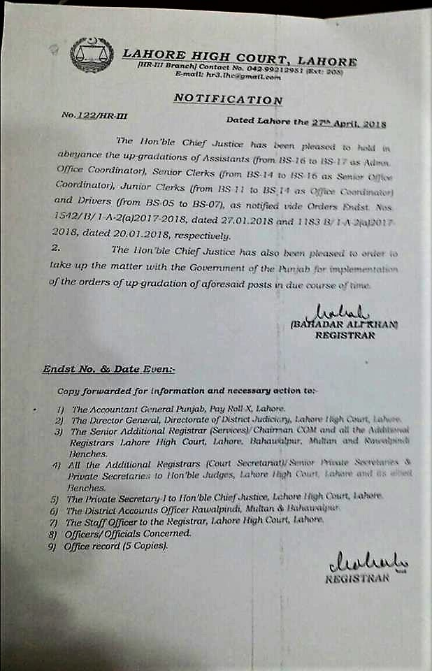 NOTIFICATION REGARDING HELD IN ABEYANCE UP-GRADATIONS OF ASSISTANTS, CLERKS, DRIVERS