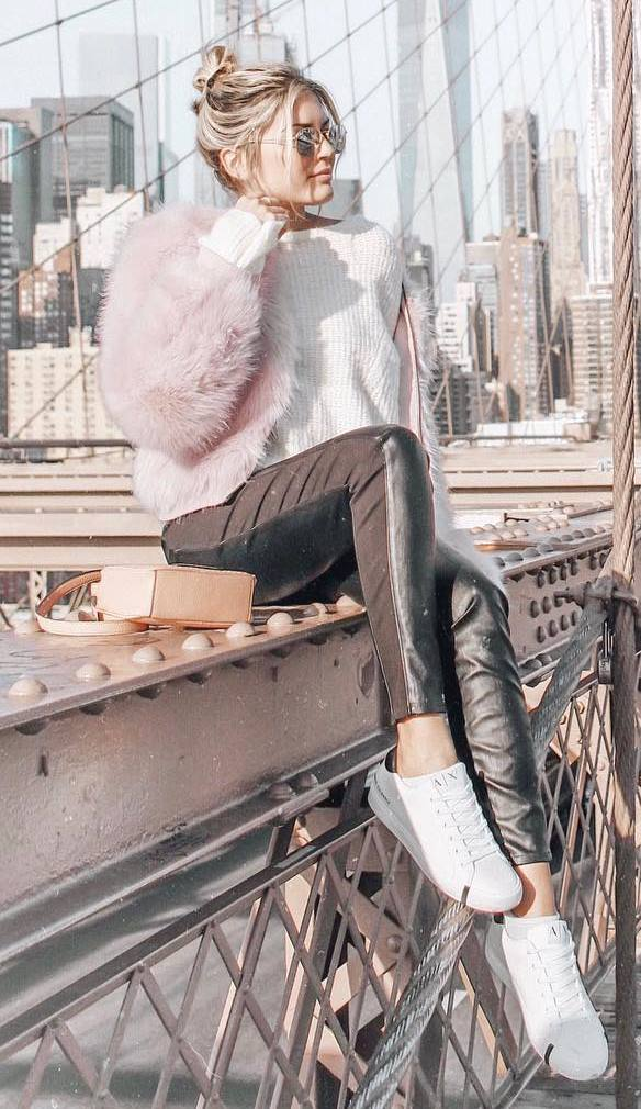 cozy fall outfit / white sneakers + fur jacket + bag + sweater + leather skinnies
