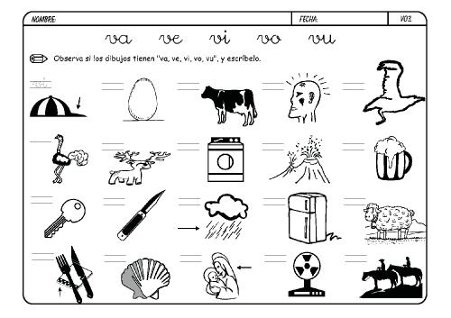 Silaba Dibujo: Dibujos Para Colorear Palabras Con V
