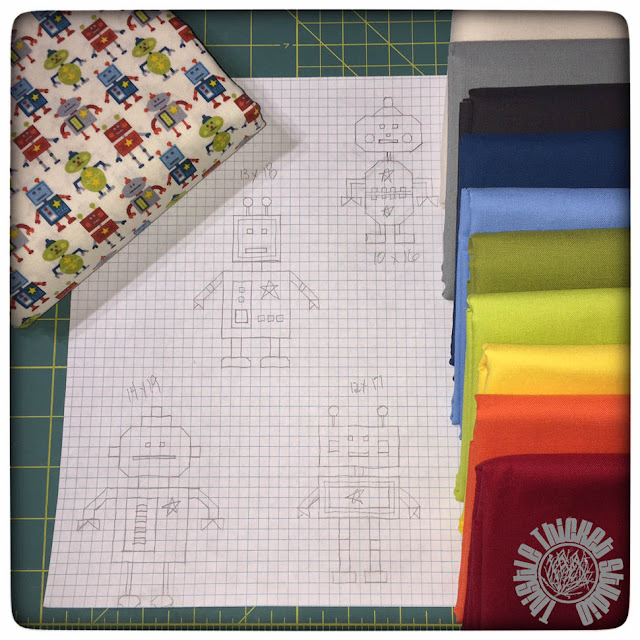Robot Quilt Planning by Thistle Thicket Studio. www.thistlethicketstudio.com