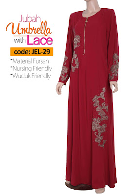 Jubah Umbrella Lace JEL-29 Red Depan 5