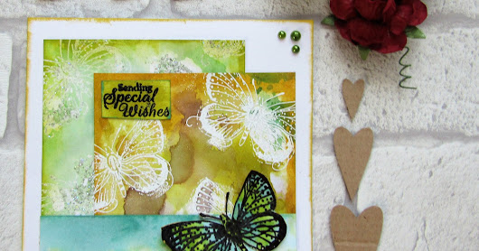 Butterfly card using Polkadoodles stamps