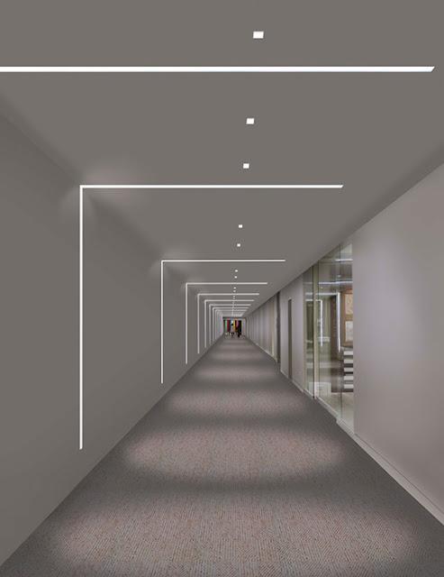 освещение в офисном коридоре
