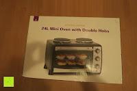 Verpackung vorne: Andrew James – 23 Liter Mini Ofen und Grill mit 2 Kochplatten in Schwarz – 2900 Watt – 2 Jahre Garantie