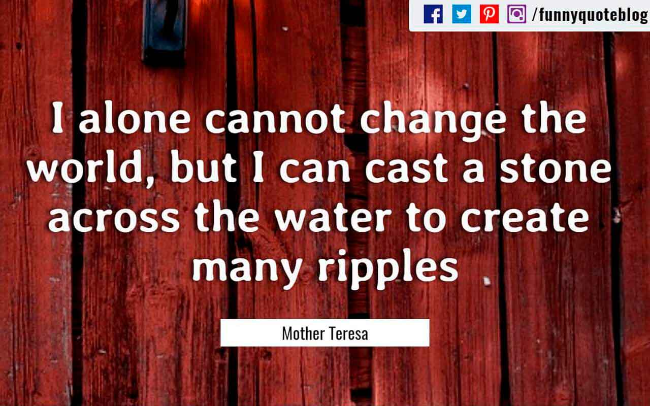I alone cannot change the world, but I can cast a stone across the water to create many ripples. ― Mother Teresa Quote