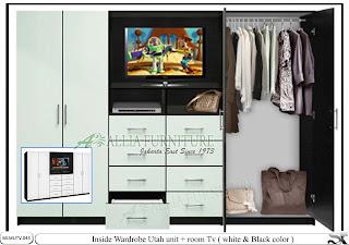 Lemari model pakaian minimalis tv Utah
