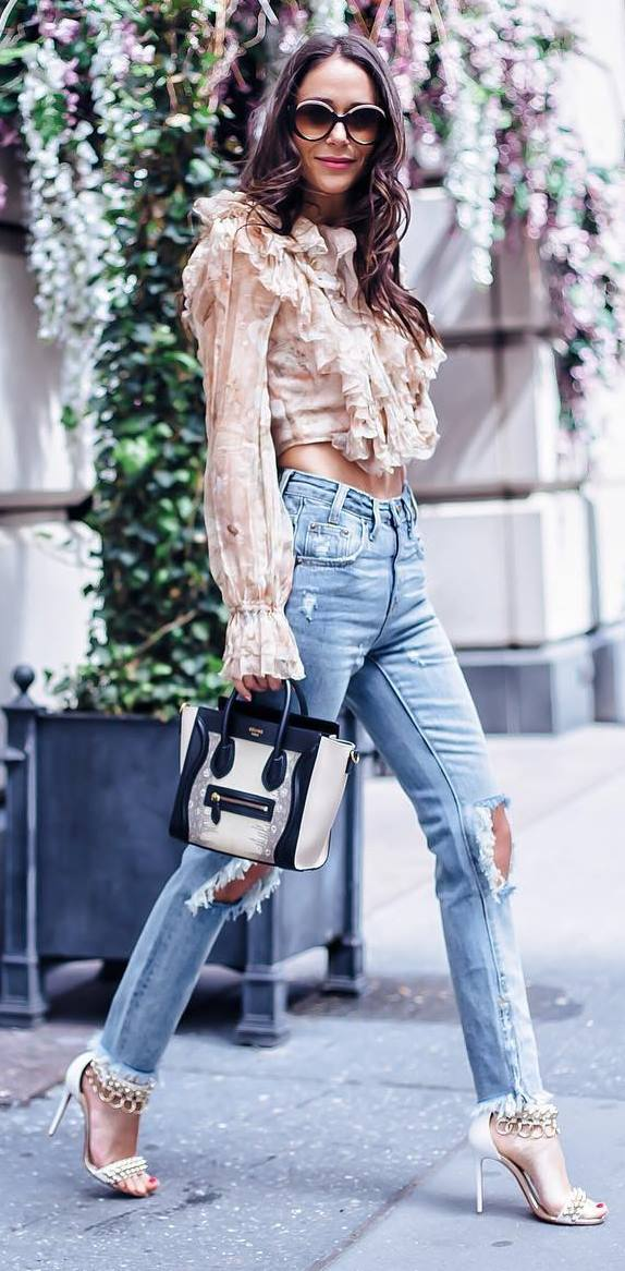 ootd: blouse + jeans + bag + heels