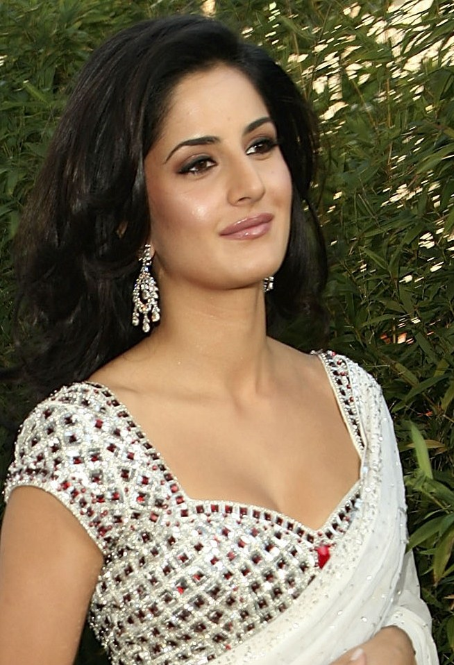 Katrina Kaif Sexy Cleavage Show In Saree At The Opening -7115