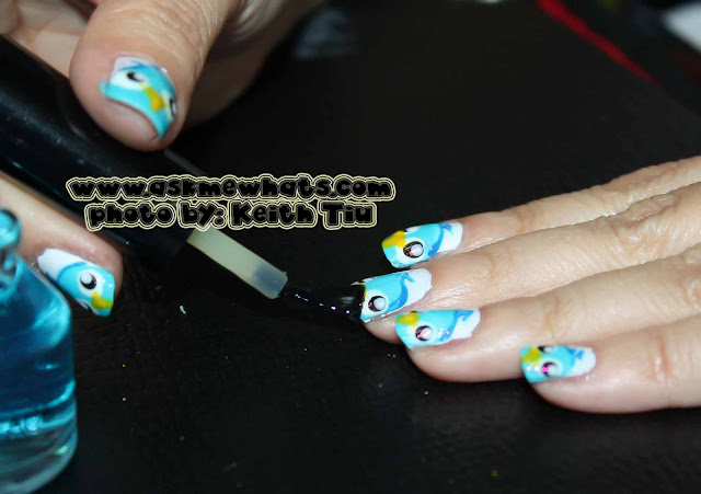 a photo of Churp Churp Nail Art Tutorial.  Bird Nail Art Tutorial