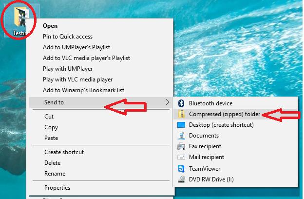 How to send a folder through gmail