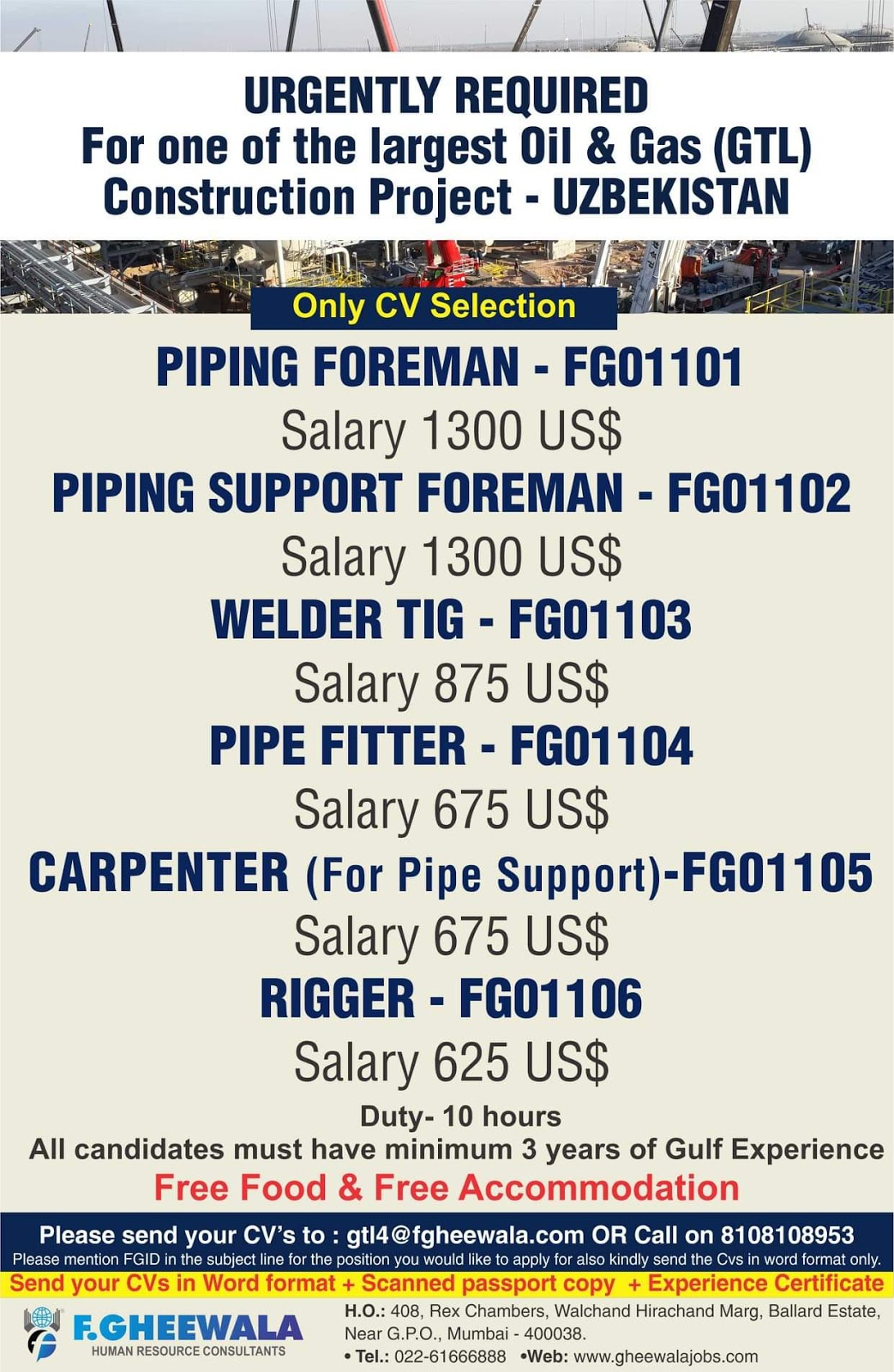 Urgently Required For Uzbekistan-Walkin -Interview For Oil &Gas