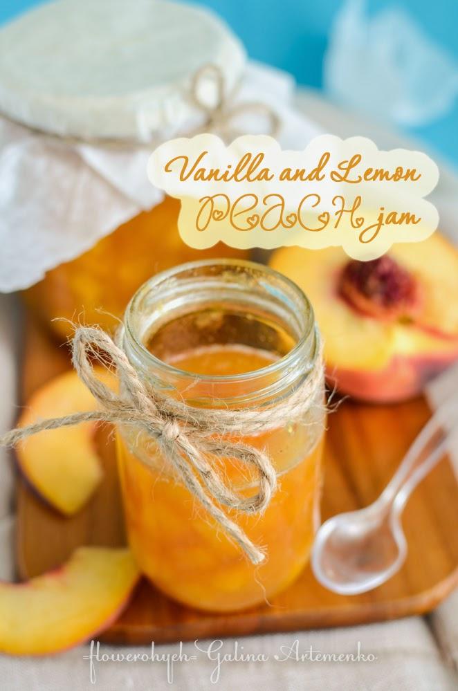 Vanilla and lemon peach jam