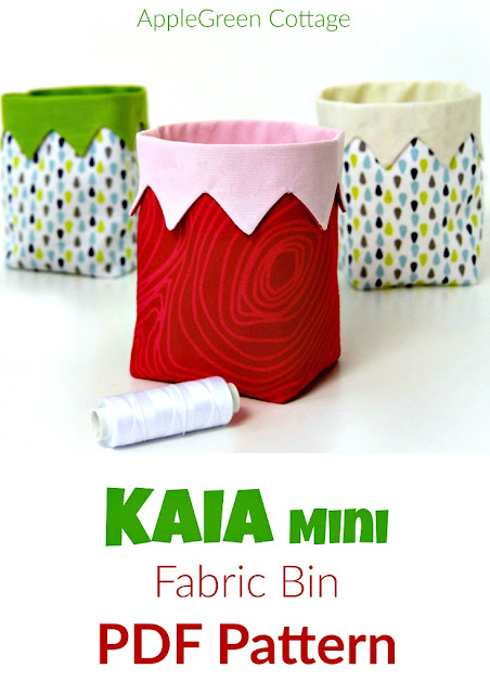 ​A new PDF sewing pattern and an easy beginner sewing project. It's a cute little handy DIY fabric bin, ​​an easy and quick sew.​ And a great scrap buster. ​​Makes an excellent handmade present​!