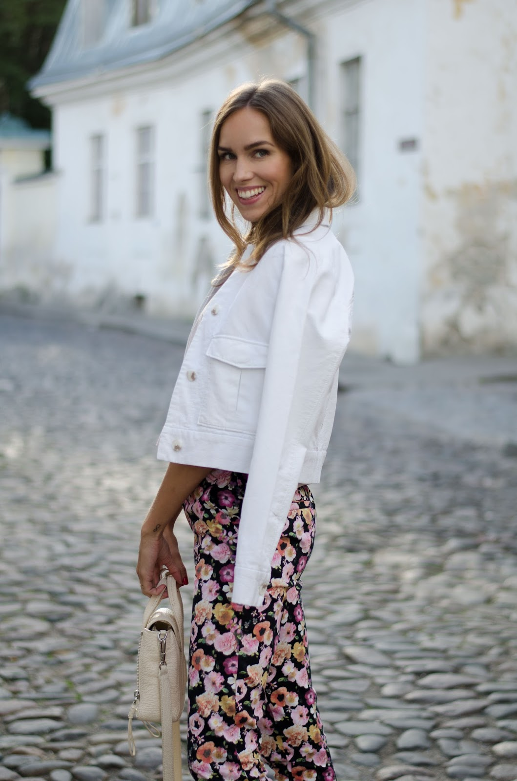 white jacket floral print pants summer outfit