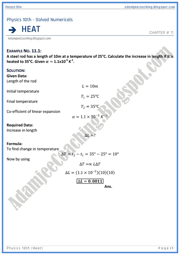Adamjee Coaching: Heat - Solved Numericals - Physics 10th