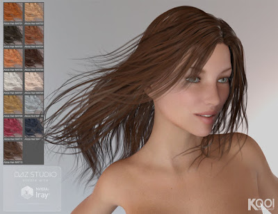 Alicia Hair for Genesis 2 and 3 Female