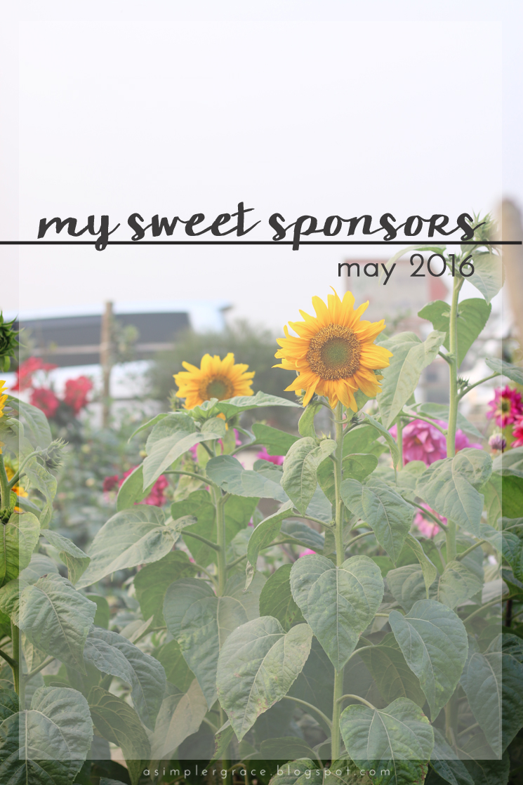 My Sweet Sponsors | May 2016 - A Simpler Grace - A closer look at the special people who kept ASG running this month.