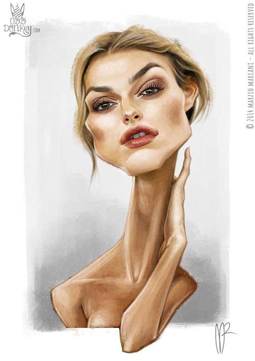 """Caricatura de """"Keira Knightley"""" por Marzio Mariani"""
